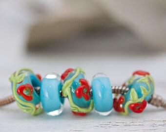Lampwork Large Hole Beads, Big Hole Beads, Glass Beads, Bead Set of 5, Handmade Lampwork, Lampwork Flowers