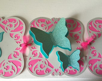 Butterfly Banner, It's A Girl Banner, Butterfly Baby Shower Banner, It's A Girl, Gray Pink Aqua Baby Shower Banner