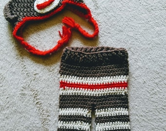 Sock monkey pants and hat