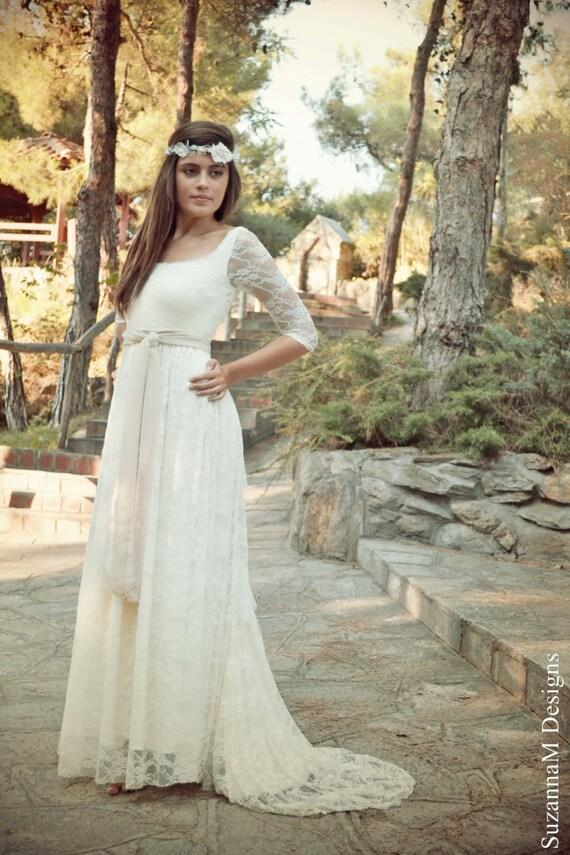 Bohemian wedding dresses cheap sleeves