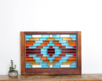 "Southwestern Stained Glass Window Panel Wooden Window Sash Frame South Western Geometric Multi Color Roy G Biv 28"" x 20"""
