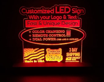 Personalized Li-ion Battery Operated Acrylic LEDs Sign Engraved Desk Sign Neon light Sign Color Changing 8x8 or 12x12 8+ hours
