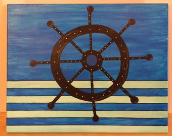 Canvas Painting, Captains wheel and Anchor Set