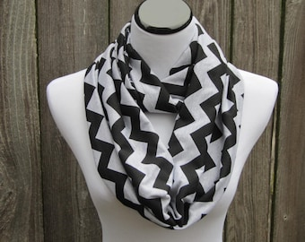 Gray black chevron infinity scarf zig zag grey white stripes scarf  cotton jersey knit circle scarf loop scarf