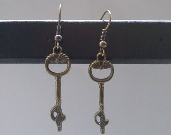 Steampunk Bronze Key Earrings