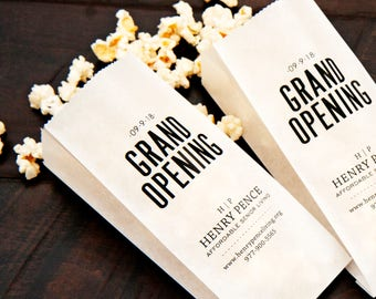 Grand Opening, Business Logo Popcorn Bags - client gifts, party favor, community events, realtor - 20 popcorn or peanut bags