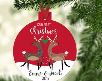FREE SHIPPING Our First Christmas as Mr and Mrs Ornament - First Christmas Married Ornament -Deer Wedding Ornament