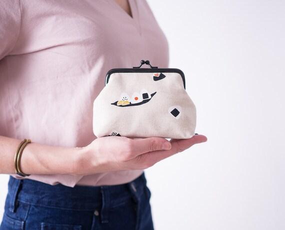 Sushi Coin Purse, Kiss Lock Purse, Change Purse, Beige metal frame purse, Kawaii Japanese Fabric, Money Purse, Gifts for Her
