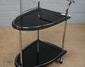 Vintage Chrome & Black Glass Drinks Trolley