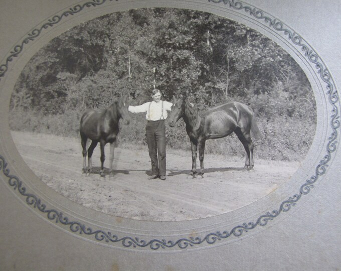 Vintage Black and White Photography Horses and Man Picture Rustic Farmhouse Decor