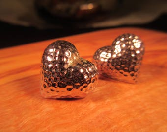 Delicate Sterling Silver Hammered Heart Earrings