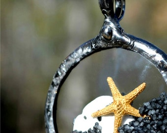 Starfish Jewelry, Black Sand, Starfish, Sand Dollar, Encased in Vintage Pocket Watch Crystals, Tiny Starfish, Starfish Necklace (2269)