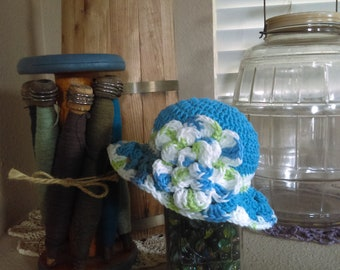 Baby blue sun hat for 3/6 month old