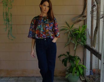 Vintage 80's Floral Shirt / Painted Floral Colorful / XL Large