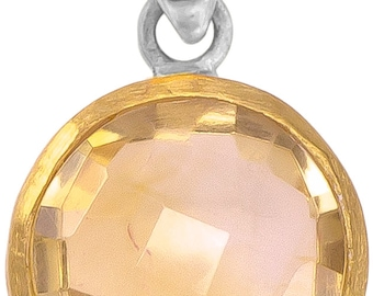 Silver Pendant round citrine faceted gold-plated 925 sterling silver stone yellow trailer (type-n ° AG-56)