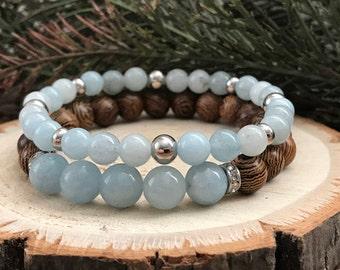 Aquamarine Gemstone Bracelet Duo