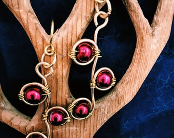 Elegant red and gold dangle earrings