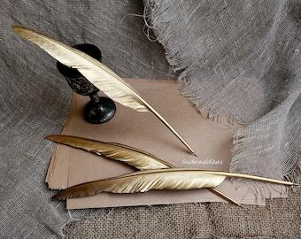 Office school supplies etsy gold feather pen golden ball point pen with feather wedding feather pen golden junglespirit Gallery