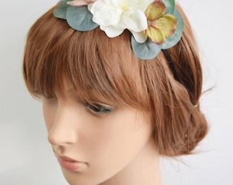 Spring Flower headband, bridal flower crown, bridal headband. spring wedding, bridesmaid headband, flowergirl headband, bridal headpiece
