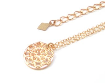 MAYA - Pendant gold plated rose necklace