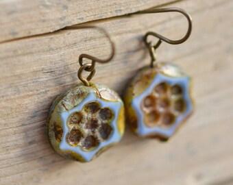 Pale Blue Antique Earrings / Czech Glass Beads / Brass / Neo Vintage Jewelry