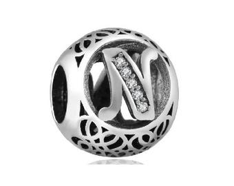 "Silver Letter ""N"" CZ Charm Bead, fits Pandora Bracelets or Any Chain"