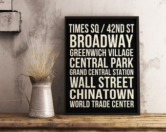 Personalized Subway Art - Travel Poster - Custom Subway Art Poster, NYC Subway Art Sign, City Subway Art, New York City Subway Art