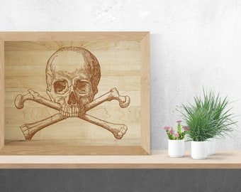 INSTANT DOWNLOAD - Skull and Crossbones, Jolly Roger, Skull, Pirate, Wall Art, Digital, Wood, Pirate Print, Printable Art, Vintage,