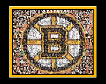 Boston Sports Mosaic Print Art using Player Photos from the Bruins and Patriots. Two different Mosaic teams are included.