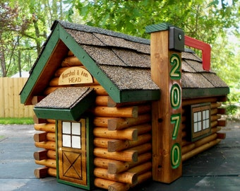 Rustic Log Cabin Mailbox Handcrafted log home mailbox Green