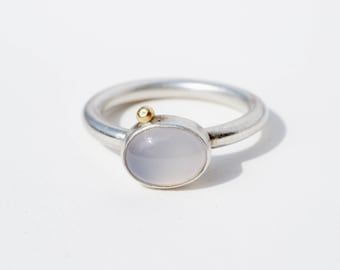 Small Ellipse silver ring with Blue Chalcedony