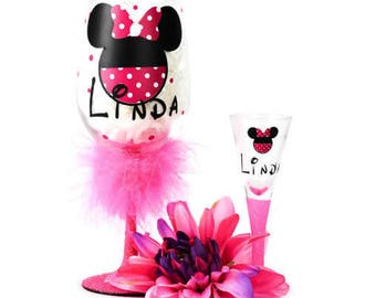 Minnie Mouse Custom Wine and Shot Glass Set