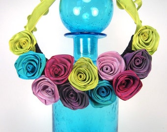 Unique bib statement necklace of ribbon roses -- French ribbon roses in mixed hues -- a gorgeous gift for her