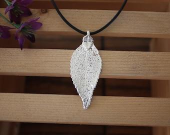 SALE Leaf Necklace, Silver Evergreen Leaf, Real Leaf Necklace, Evergreen Leaf Pendant, SALE77