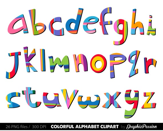 Scrapbooking Alphabet Clipart Farbe Digital Alphabet