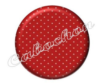 2 cabochons 18mm glass, fairy tale Red Riding Hood, red polka dot