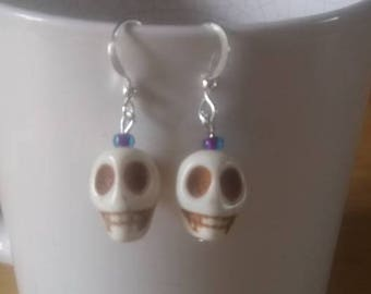boho style skull earrings