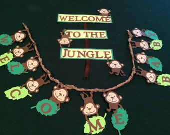 Monkey, Jungle, Baby Shower Banner and Welcome Sign
