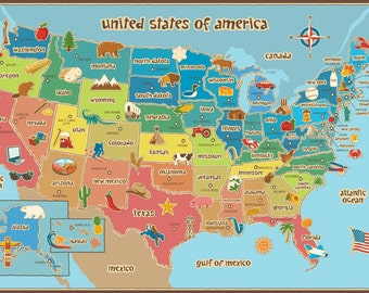 Kids Map of America Dry Erase Wall Decal - LARGE, 36 x 24, United States of America
