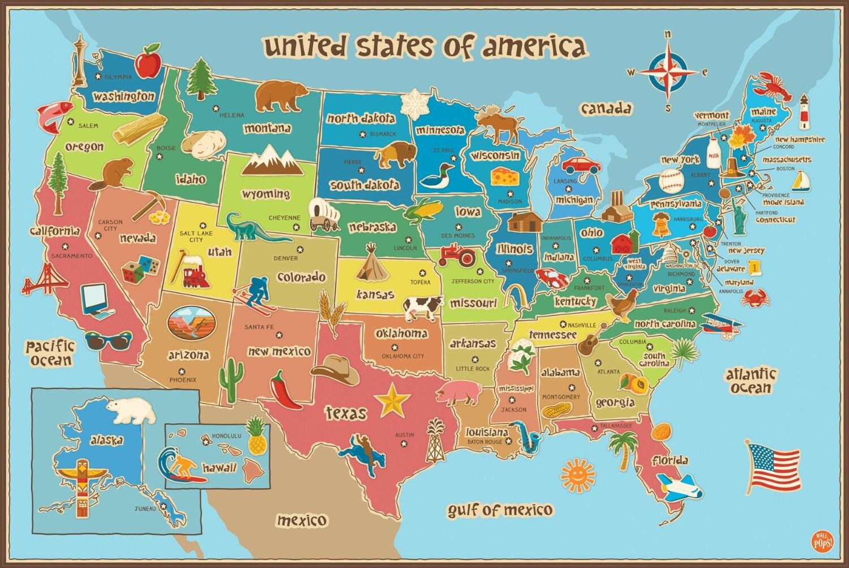 Kids map of america dry erase wall decal large 36 x 24 zoom buycottarizona Choice Image