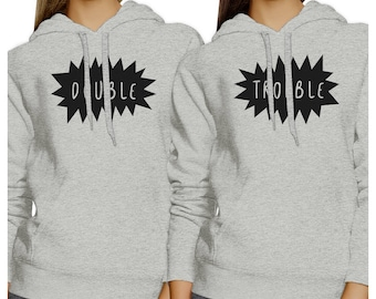 Double Trouble Heather Grey Hoodie Set [FHD029HG]