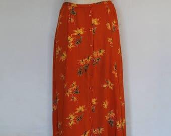 """skirt long orange yellow flower """"70"""""""