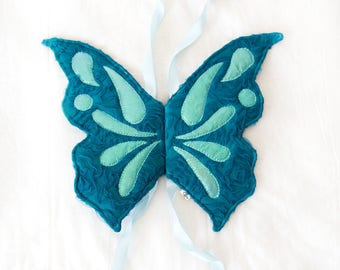 teal butterfly wings, quilted wings, costume wings, fairy wings