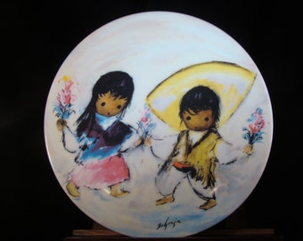 "Castanets in Bloom Collectable Plate by De Grazia from the ""Fiesta of Children collection"