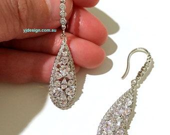 Cz Bridal Earrings, Drop Wedding Earrings, Teardrop Earrings, Dangle Earrings, Silver Bridal Jewelry, Cubic Zirconia Wedding Jewelry, TARA