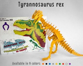 Dinosaur Toy, Dinosaur Puzzle, 3D Dinosaur Skeleton Puzzle, Recyclable PVC Tyrannosaurus Rex T Rex Dinosaur Puzzle Toy Choice of NINE COLORS