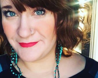 Turquoise Dreams Crochet Duster Earrings