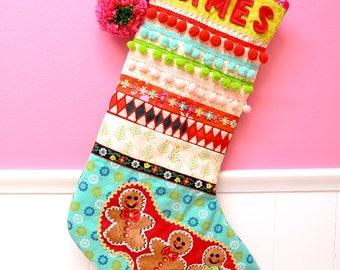 Aqua Gingerbread Men Christmas Stocking Gift