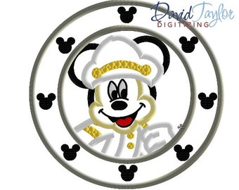 Porthole Mickey - 4x4, 5x7 and 6x10 in 7 formats - Applique - Instant Download - David Taylor Digitizing