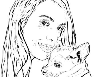 "DIGITAL Funky Ink pet portrait, custom portrait, Illustration, drawing, your pet JPG and 8""x10"" PDF file - No Print - Example here"